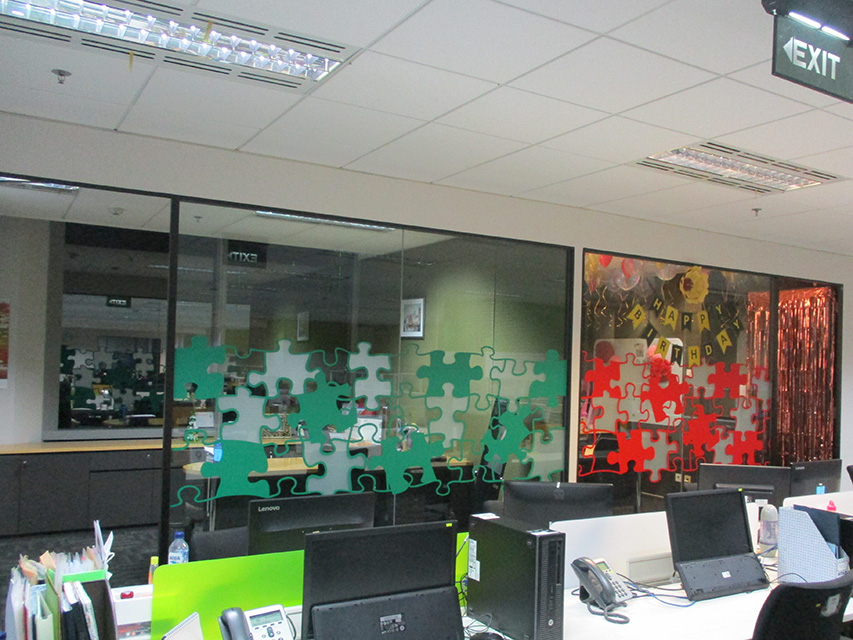 Office Decoration – Sandblast sticker with printing and cutting